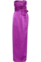Raoul Claude Bow Embellished Satin Gown Purple