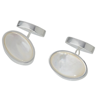 John Lewis Silver Plated Mother Of Pearl Oval Chain Cufflinks Mother Of Pearl