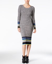 Bar Iii Striped Sweater Dress Only At Macy's Grey Marl Combo