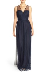 Women's Nouvelle Amsale 'Alyce' Illusion V Neck Pleat Tulle Gown Navy