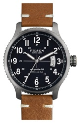 Filson 'The Mackinaw Field' Watch 43Mm Tan Navy Silver