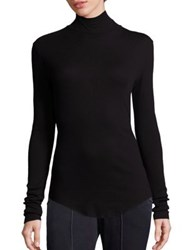 Cotton Citizen Ribbed Supima Blend Turtleneck Sweater White Jet Black