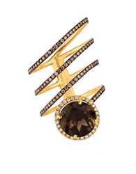 Marco Moore Smoky Quartz Diamond And 14K Yellow Gold Spiral Ring Brown