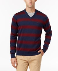 Tommy Hilfiger Men's Striped V Neck Sweater Tawny Port