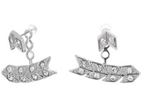 Kenneth Jay Lane Silver Crystal Chevron Post Ear Jacket Earrings Silver Crystal Earring