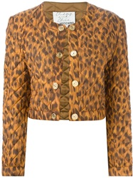 Moschino Vintage Cropped Leopard Print Jacket Brown