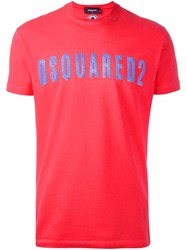 Dsquared2 Vintage Effect Logo T Shirt Yellow Orange