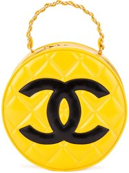 Chanel Vintage Round Logo Clutch Yellow And Orange