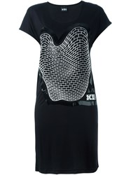 Ktz Brick Print Sleevless Dress Black