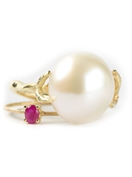 Wouters And Hendrix Gold Pearl And Ruby Set Of Rings Metallic