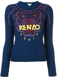 Kenzo 'Tiger' Cable Knit Jumper Blue