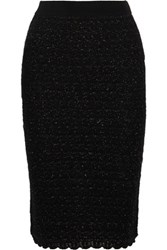 Sibling Metallic Wool Blend Boucle Pencil Skirt Black
