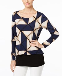 Alfani Printed Layered Look Top Only At Macy's Geo Mod Camel