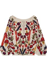 Alice Olivia Naya Off The Shoulder Embroidered Crinkled Gauze Top Cream Burgundy