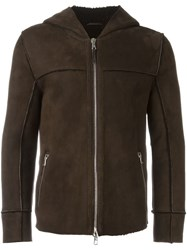 Eleventy Shearling Hooded Jacket Brown