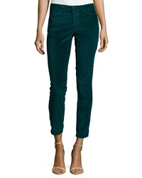 Christopher Blue Velvet Cropped Ankle Pants Forrest