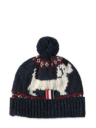 Thom Browne Dog Wool And Mohair Jacquard Beanie Hat