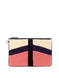 Jerome Dreyfuss Patchwork Shearling And Suede Clutch