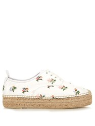 Saint Laurent Floral Print Lace Up Leather Flatform Espadrilles White Multi