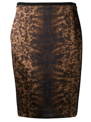 Reed Krakoff 'Tejus' Satin Pencil Skirt Brown