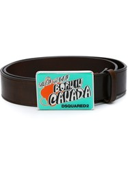 Dsquared2 Printed Buckle Belt Brown