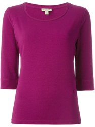 Burberry Brit Three Quarter Sleeve T Shirt Pink And Purple