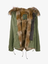 Mr And Mrs Italy Coyote Raccoon Fur Trimmed Mini Parka Pink Multi Coloured Brown Khaki Blue Denim