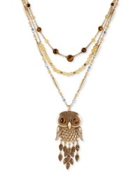Lucky Brand Two Tone Beaded Layer Owl Pendant Necklace Gold