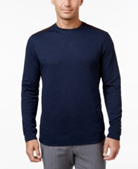 Tasso Elba Men's Big And Tall Faux Suede Shoulder Patch Sweater Only At Macy's Inky Night Heather