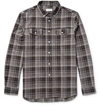 Saturdays Surf Nyc Aturday Java Button Down Collar Checked Cotton Flannel Hirt Gray