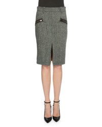 Tom Ford Herringbone Wool Pencil Skirt Charcoal