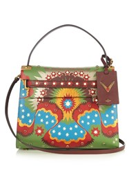 Valentino My Rockstud Enchanted Wonderland Leather Tote Green Multi