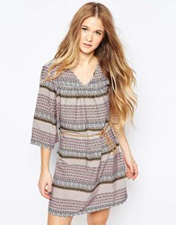 Vero Moda Boho Printed Belted Dress Snow White