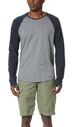 Vince Modern Mouline Long Sleeve Baseball Tee Coastal