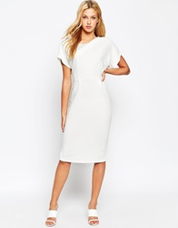Asos Clean Mesh Insert Pencil Dress Ivory