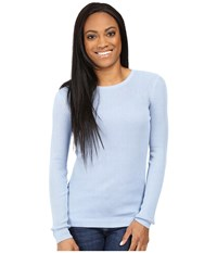 Pendleton Petite Rib Jewel Neck Pullover Chambray Blue Women's Long Sleeve Pullover