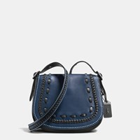 Coach Saddle Bag 23 In Glovetanned Leather With Western Whiplash Detail Black Copper Prussian Black