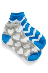 Nordstrom Women's 'Butter' Ankle Socks Grey Marled W White Hearts