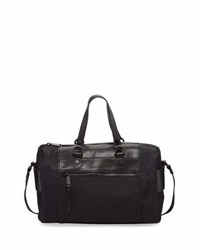 French Connection June Nylon Faux Leather Satchel Bag Black