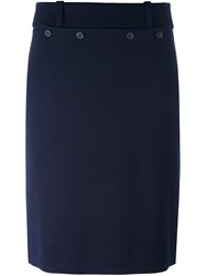 Jil Sander Navy Buttoned Front Pencil Skirt Blue