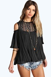 Boohoo Lace Insert Cold Shoulder Pleated Smock Top Black