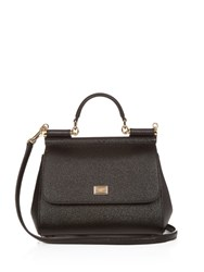 Dolce And Gabbana Sicily Small Leather Tote Black