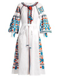 Vita Kin Mexico Embroidered Linen Midi Dress White Multi