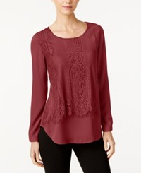 Ny Collection Lace Popover Blouse Burgundy