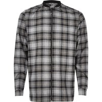 River Island Mens Grey Check Flannel Baseball Shirt