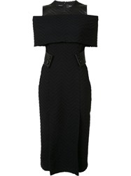 Yigal Azrouel Cut Off Shoulder Fitted Dress Black