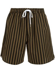 Second Layer Striped Shorts Black