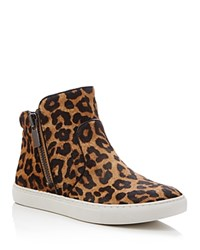 Kenneth Cole Kiera Leopard Print High Top Sneakers Natural