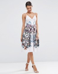 Asos Winter Forest Floral Pinny Midi Prom Dress Multi