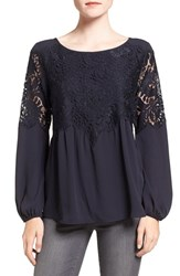 Chelsea 28 Women's Chelsea28 Button Back Lace Top Navy Well